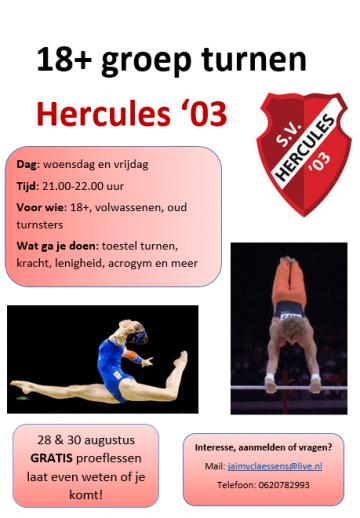 18+groep turnen Hercules'03 Reuver