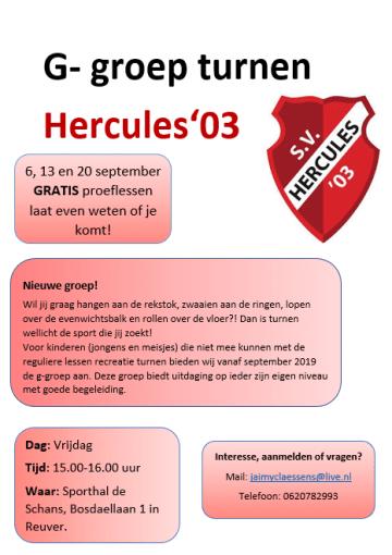 G-groep turnen Hercules'03 Reuver
